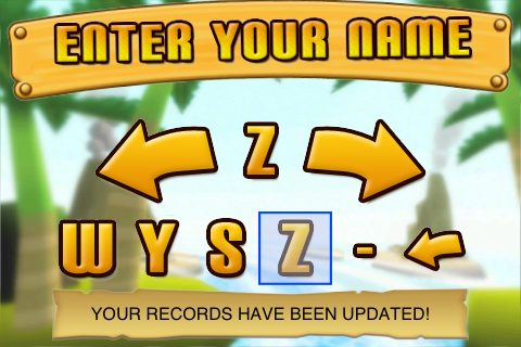 Name entry on Super Monkey Ball for iPhone
