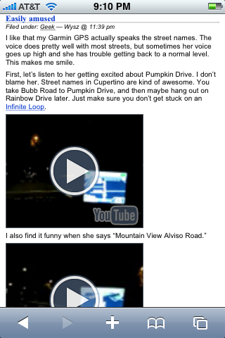Safari on iPhone showing an embedded YouTube video