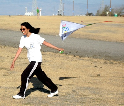 Charlene flying a kite