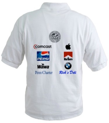 Back of a polo shirt with school logo on top, followed by corporate logos including Marlboro. Also includes the logo of Penn Charter.