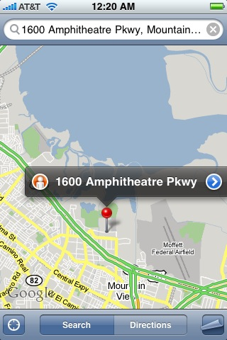 map of 1600 Amphitheatre Pkwy, Mountain View, CA