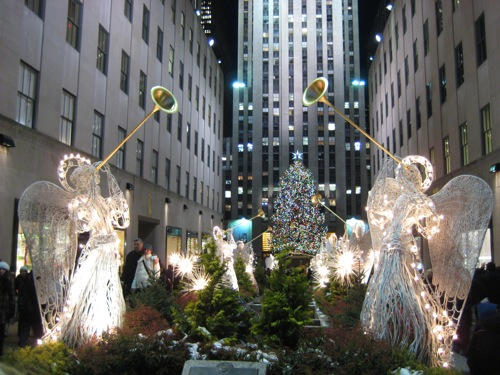 angels with tree in background
