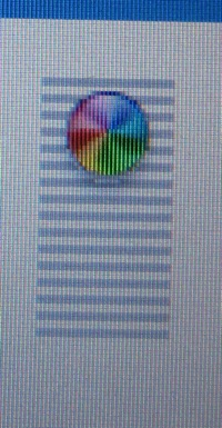 OS X beach ball with horizontal lines behind it