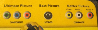 packaging showing component connections as 'ultimate picture,' s-video as 'best picture, and composite as 'better picture.'