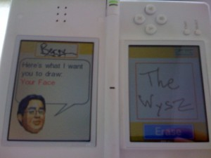 Left screen asks user to draw Your Face. On the right, Bergy has written The Wysz.