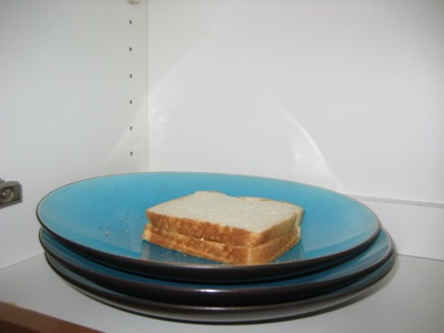 sandwich on a plate in a cabinet