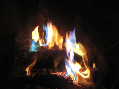 colorful fire in fireplace