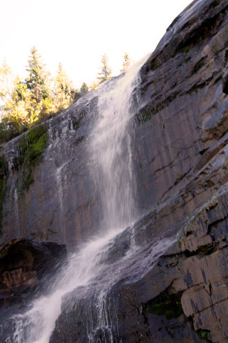 Tilted image of the top of Bear Creek Falls
