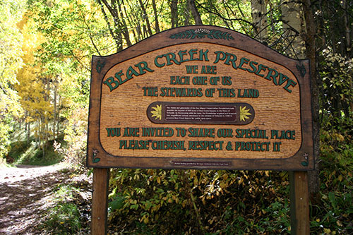 Bear Creek Preserve sign