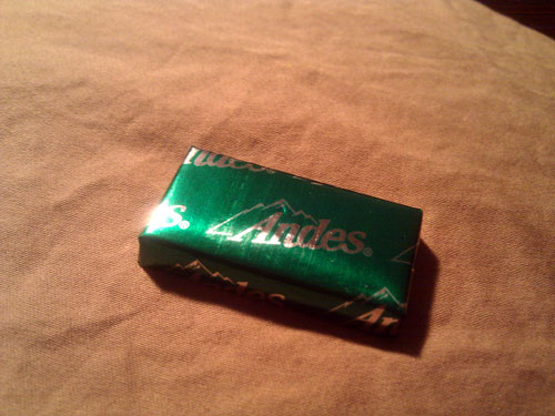 Andes mint sitting on a pillow