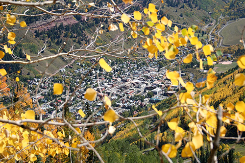 Telluride framed by yellow aspen leaves