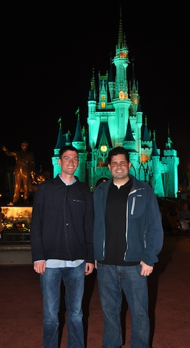 Michael and Brendan in front of Cinderella's Castle at Walt Disney World