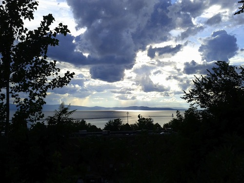 Lake Champlain as seen from Burlington with clouds overhead