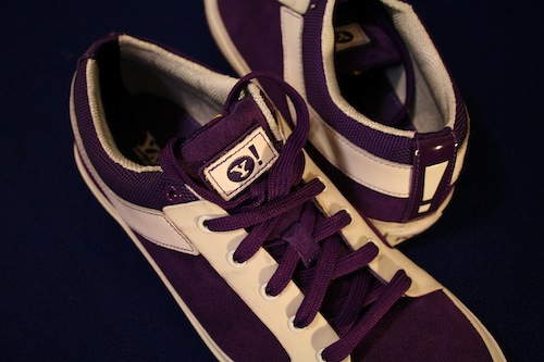 purple shoes with the Yahoo! logo