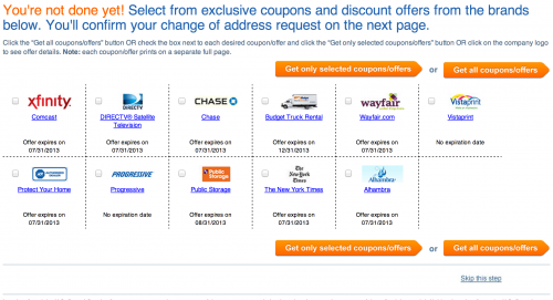 Lowbrow marketing page with words like 'exclusive coupons' and very large buttons for opting in, with only a small 'Skip this step' link that allows the user to continue to the confirmation page for a change of address.