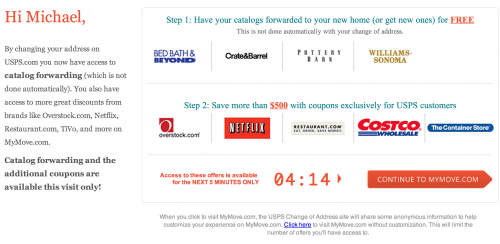 Lowbrow marketing page with a timer indicating that the customer only has a few minutes to redeem an offer to have catalogs sent to their address or to receive coupons.