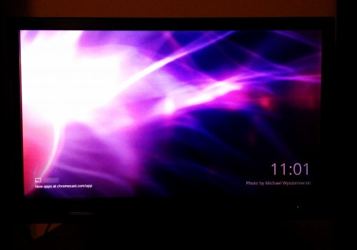 TV showing a plasma ball image on the Chromecast Home Screen