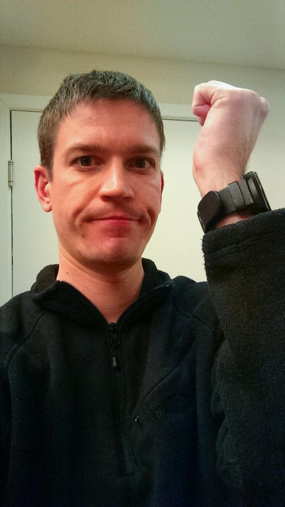 Wysz wearing a watch on his wrist